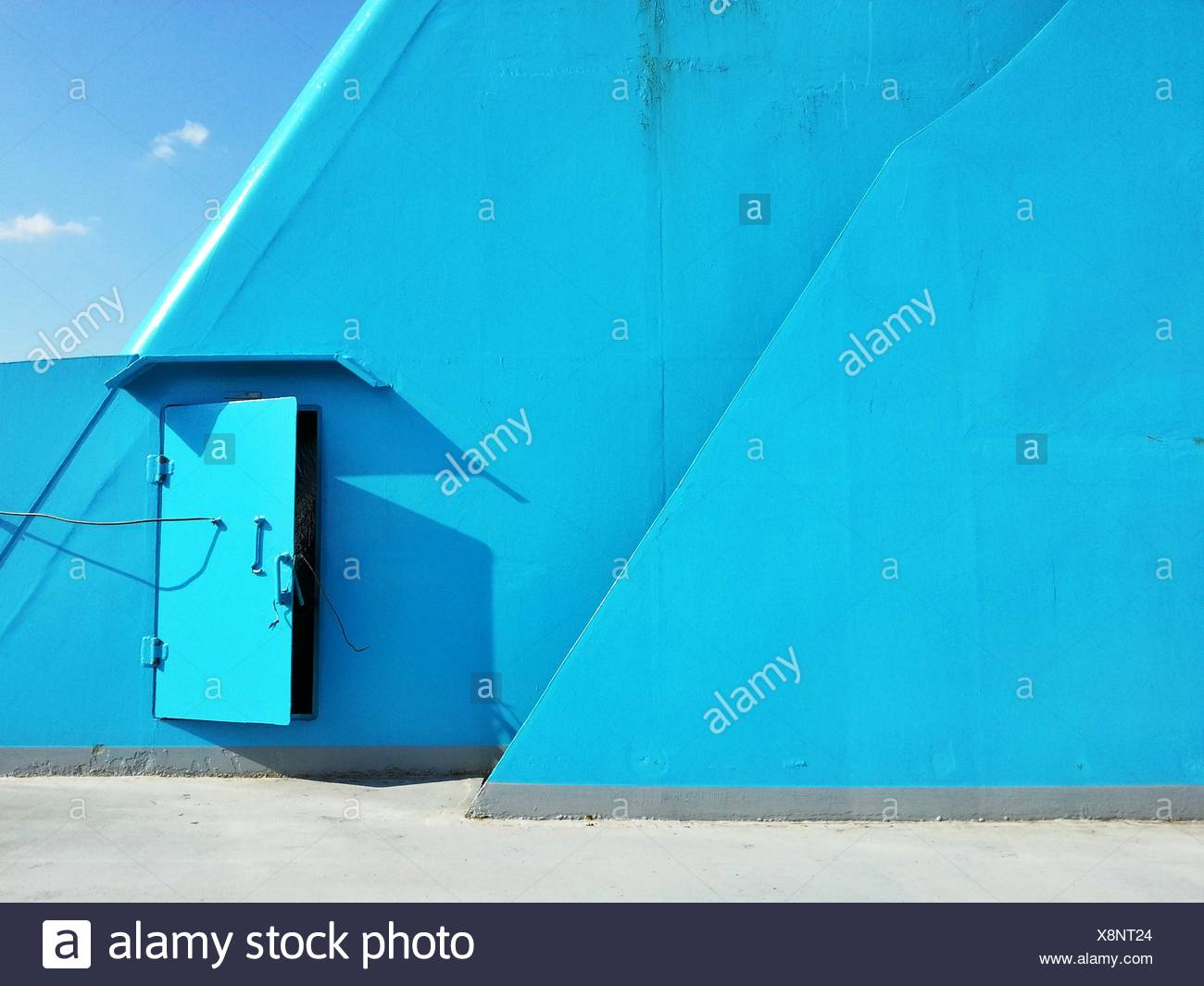Blue deck aboard ship - Stock Image