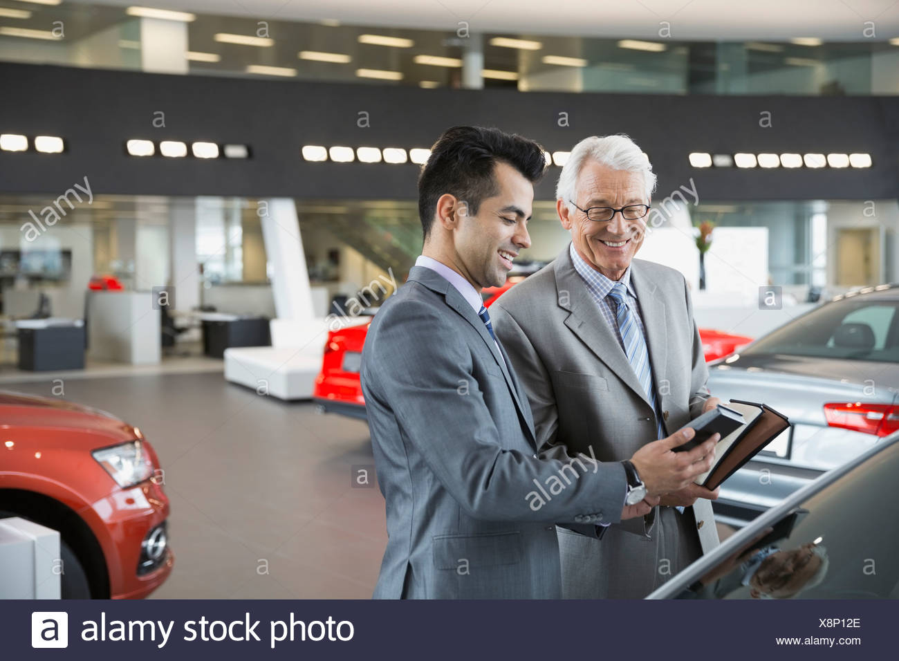 Salesman and man with car color swatches - Stock Image