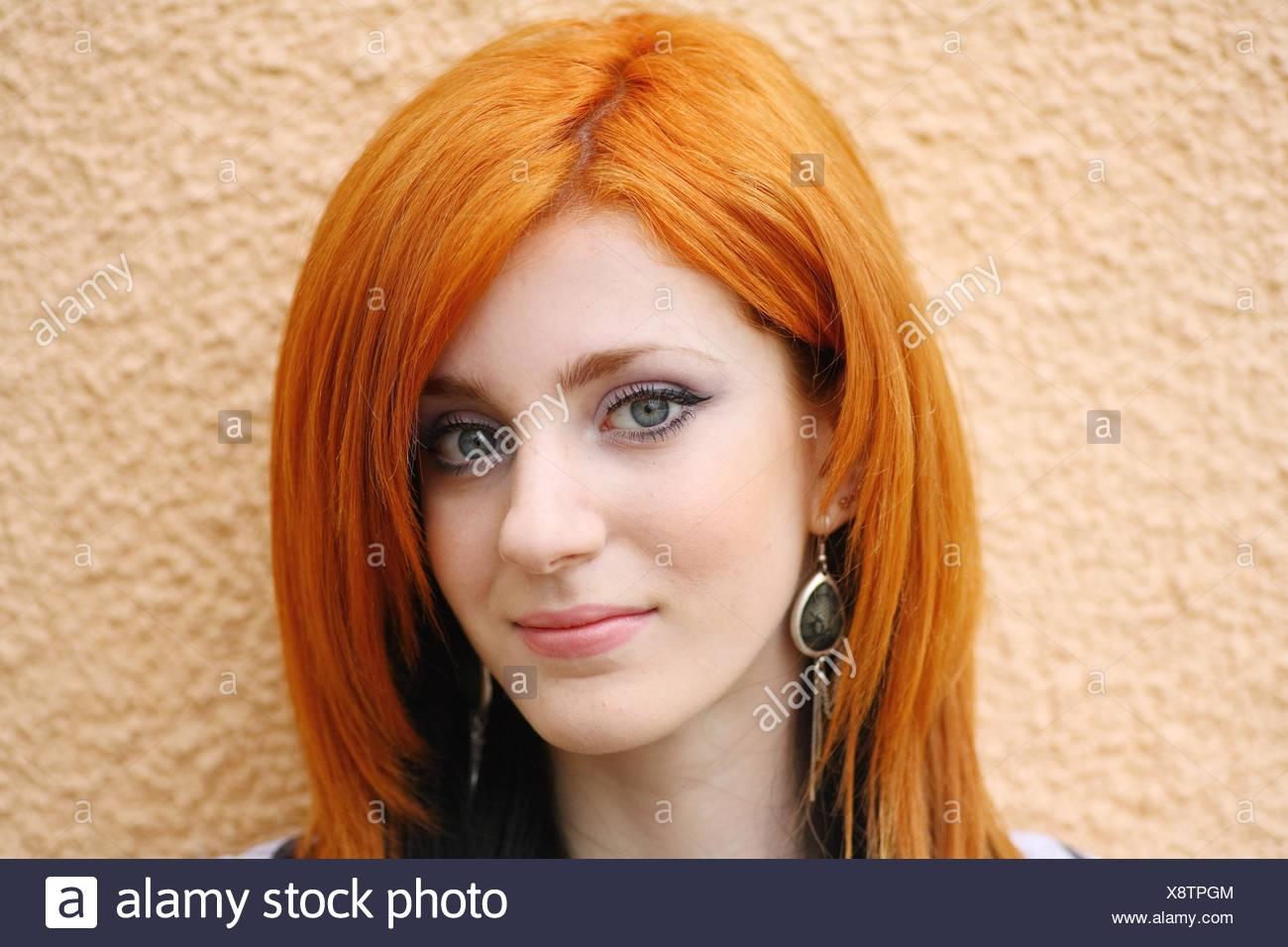 portrait redhead girl face painted stock photos & portrait redhead