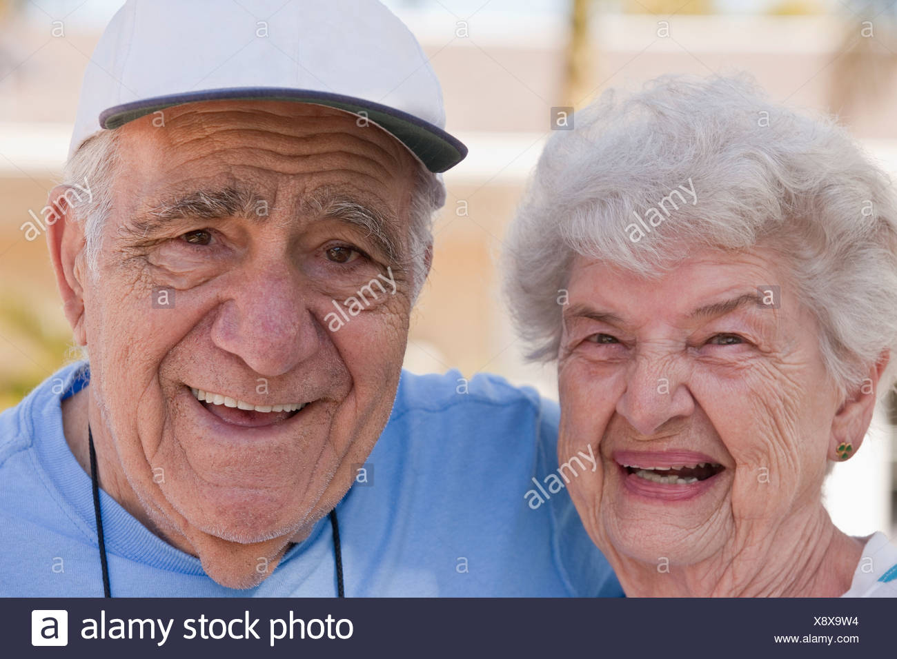 Close-up of a couple smiling - Stock Image