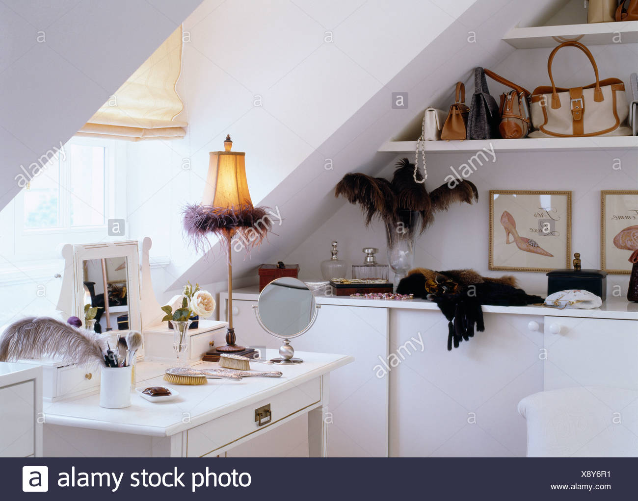 Feather Trimmed Lamp On Dressing Table Below Window In White Attic Bedroom
