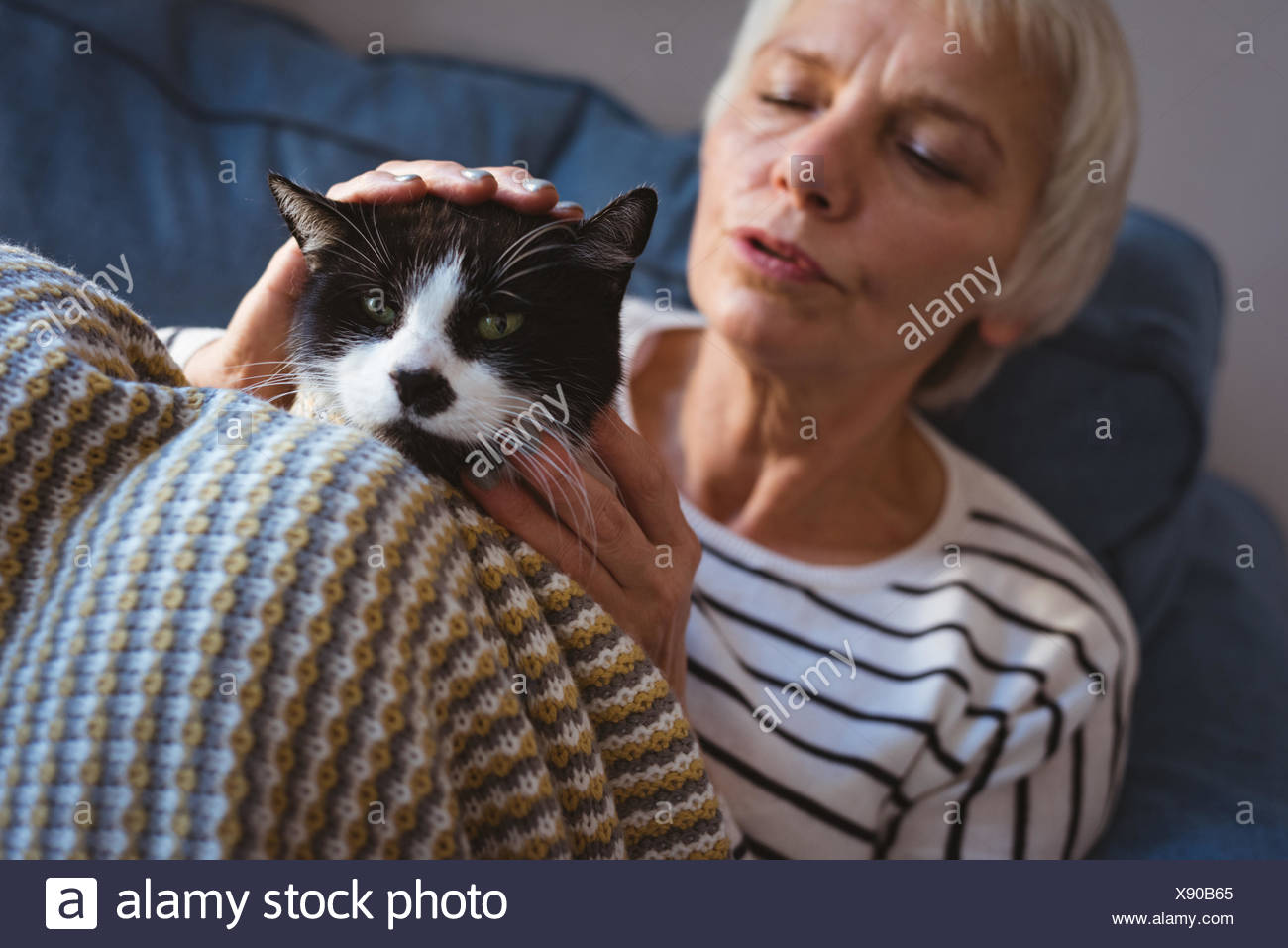 Senior woman sitting on sofa while stroking her cat at home - Stock Image