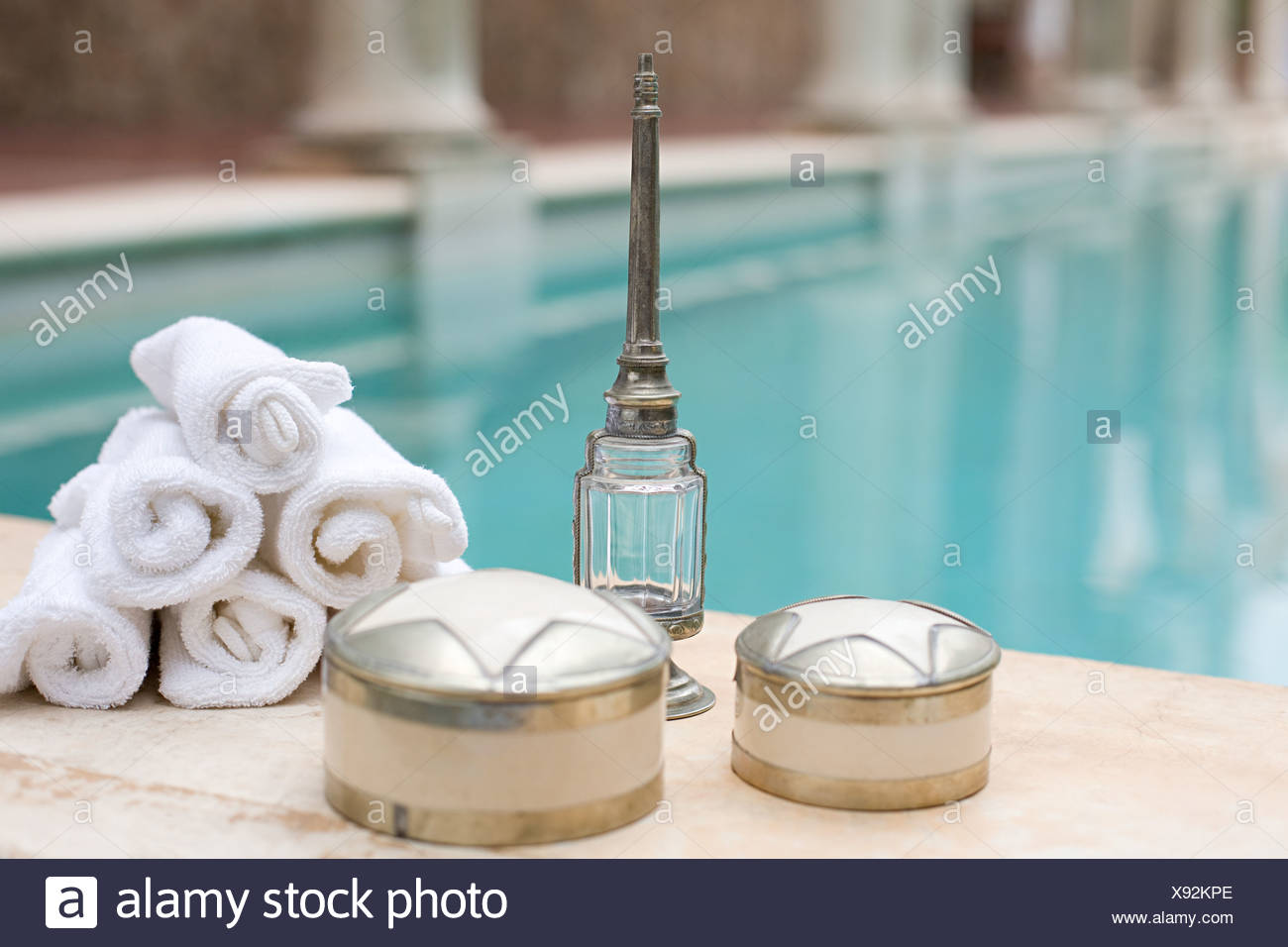 Objects by swimming pool - Stock Image