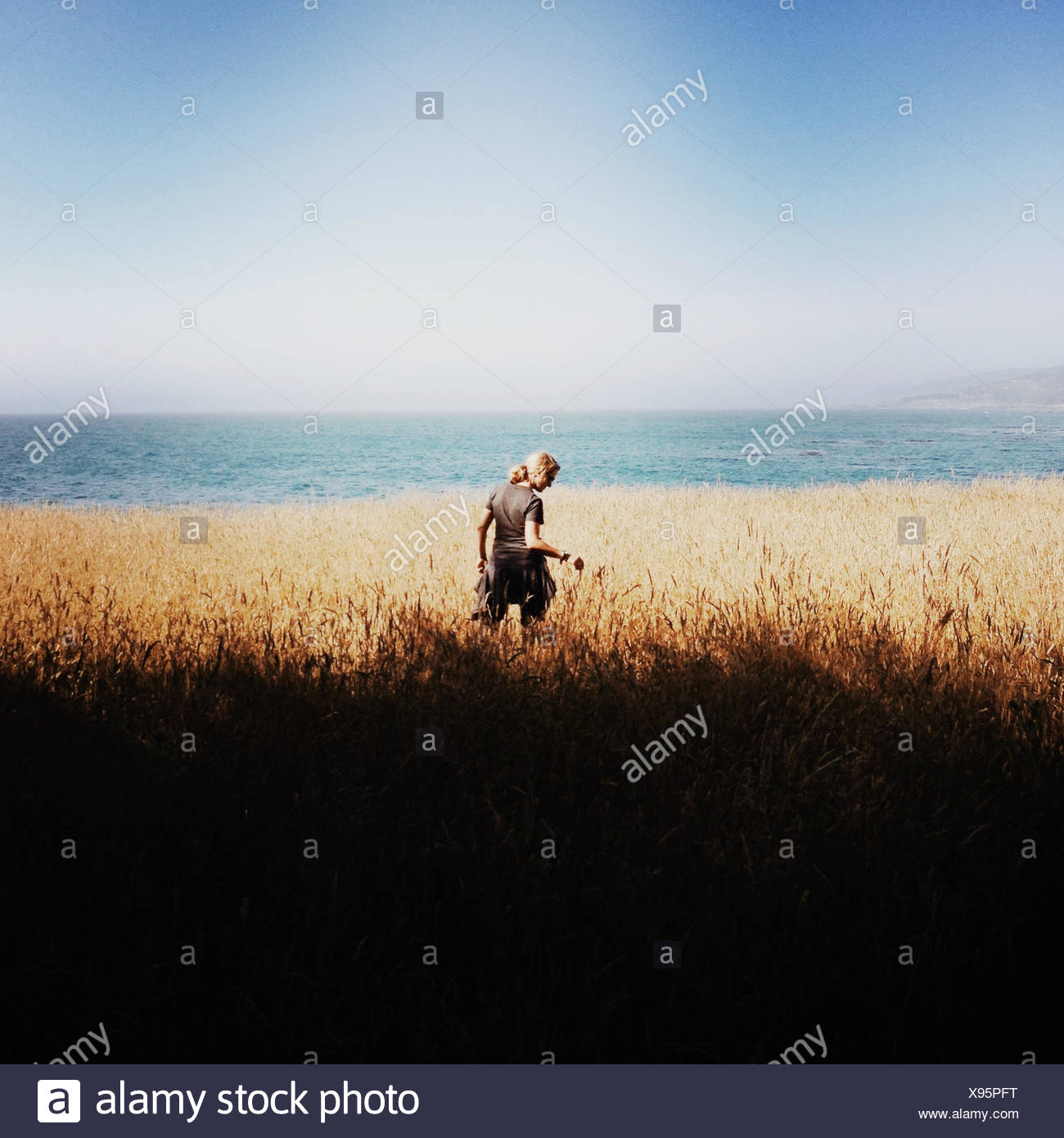 Rear view of woman standing by coast - Stock Image