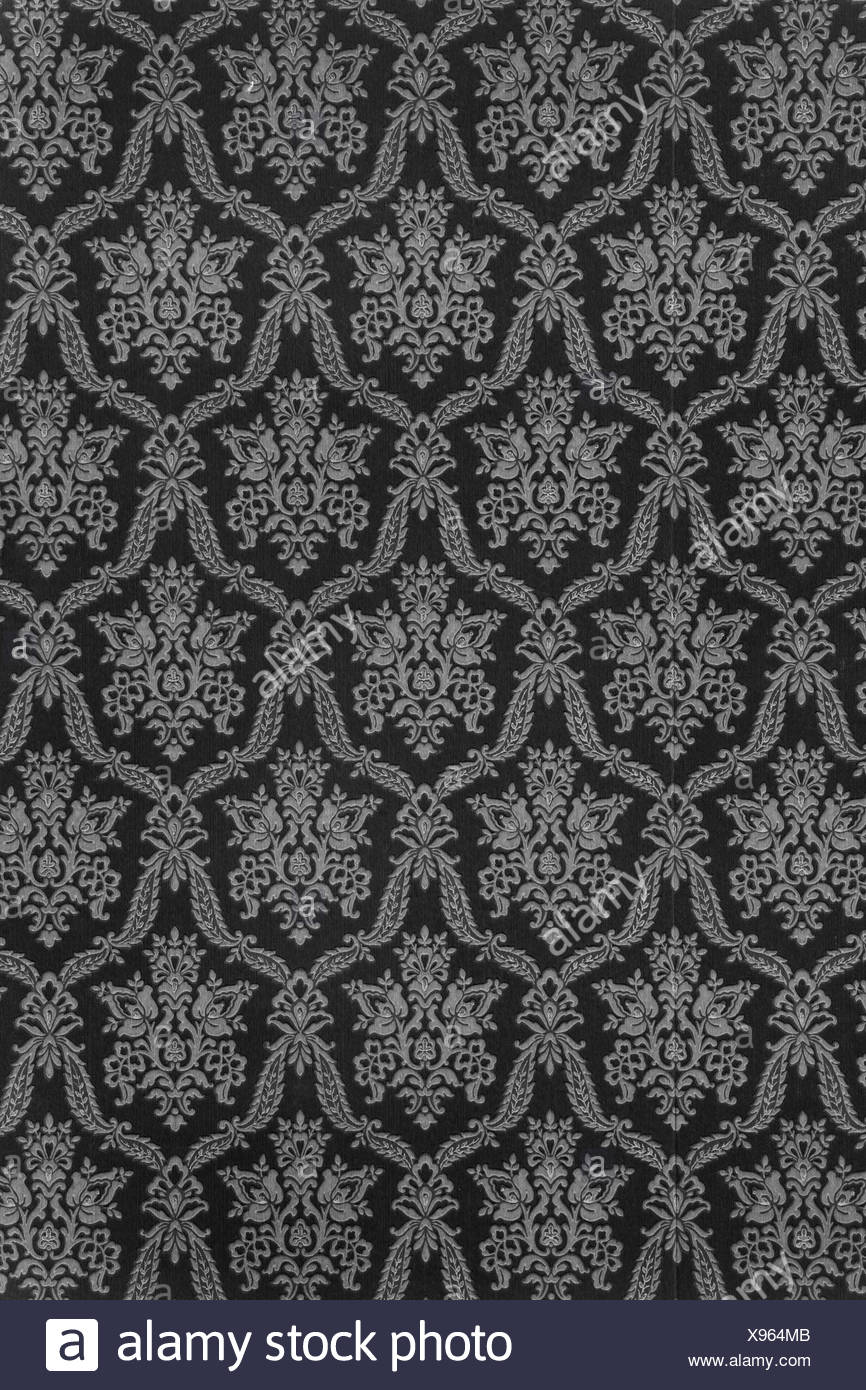 Old Wallpaper With Baroque Pattern In Antique Anthracite Black And White As Background