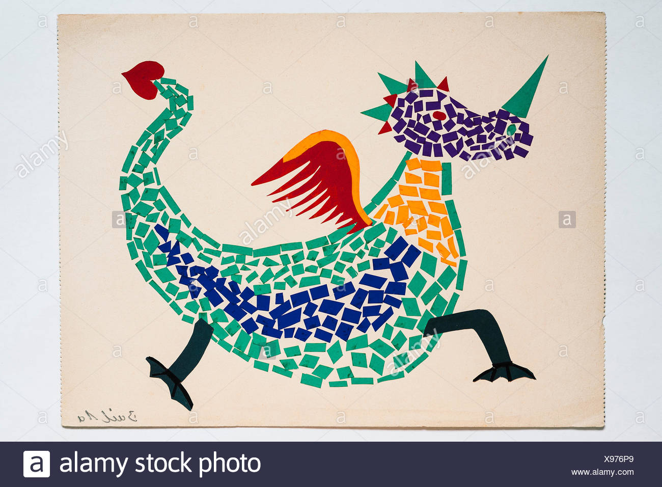 Dragon, Drawing, Adhesive work, Children's drawing, 12 years, Germany - Stock Image
