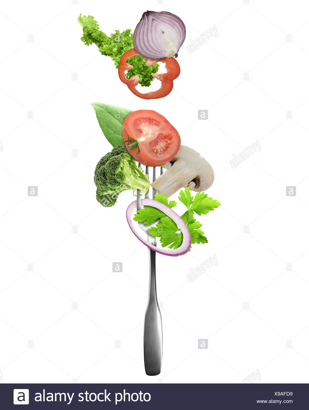 Fresh Vegetables On A Fork - Stock Image