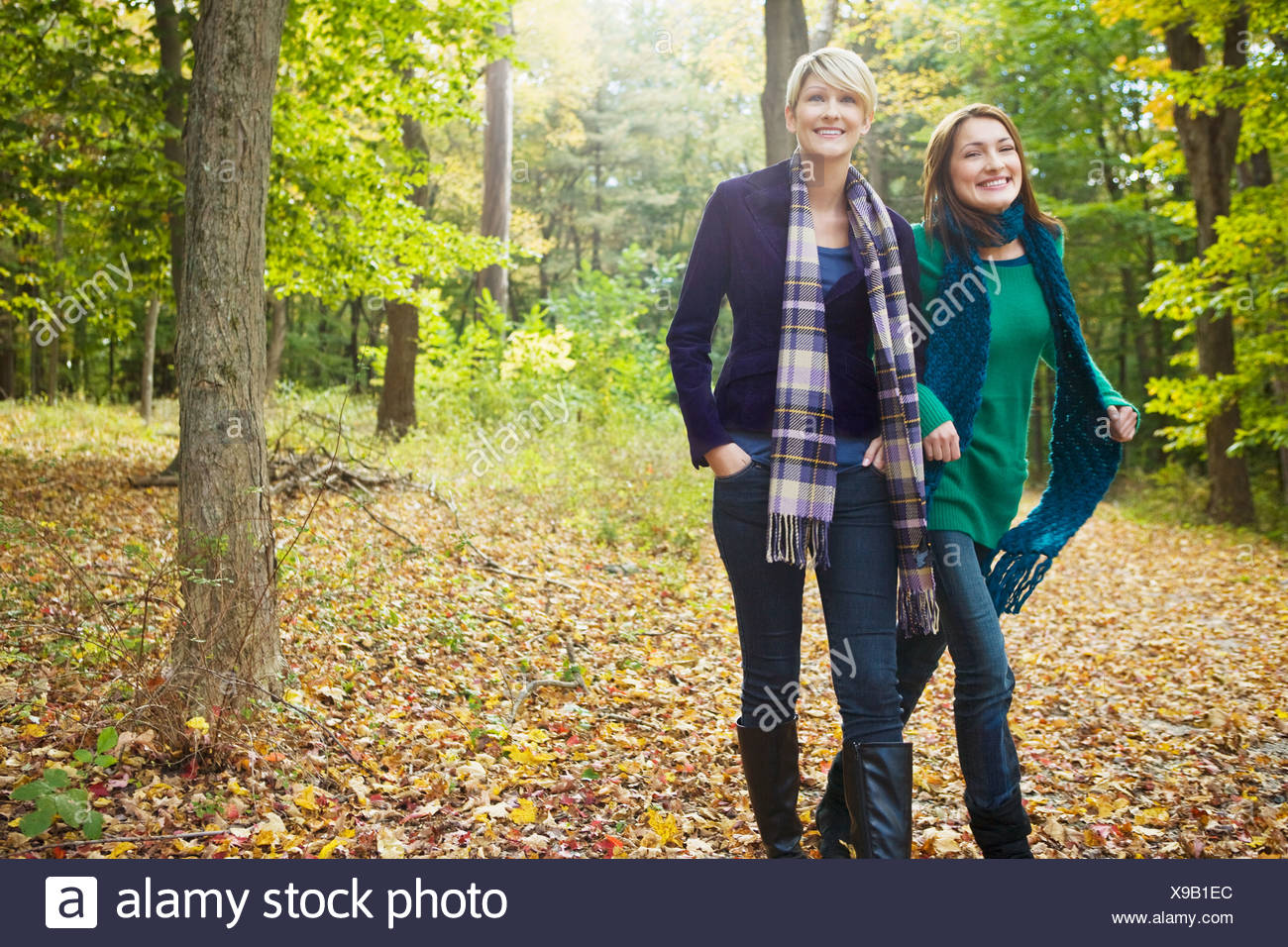 Friends walking in forest - Stock Image