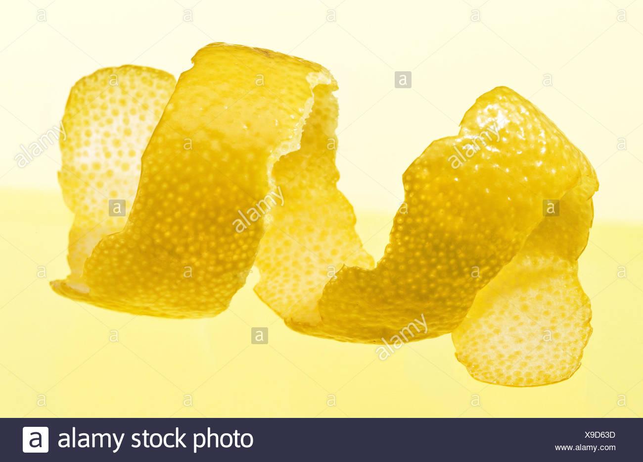Lemon zest, fruits, peeled, studio, Stilllife, Food, - Stock Image