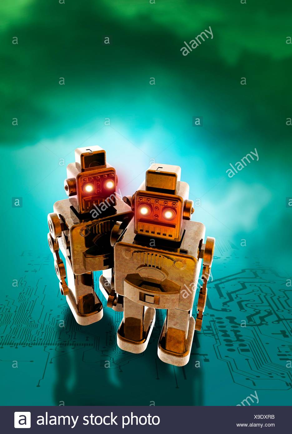 Robots And Circuit Board Illustration Stock Photo 281204207 Alamy