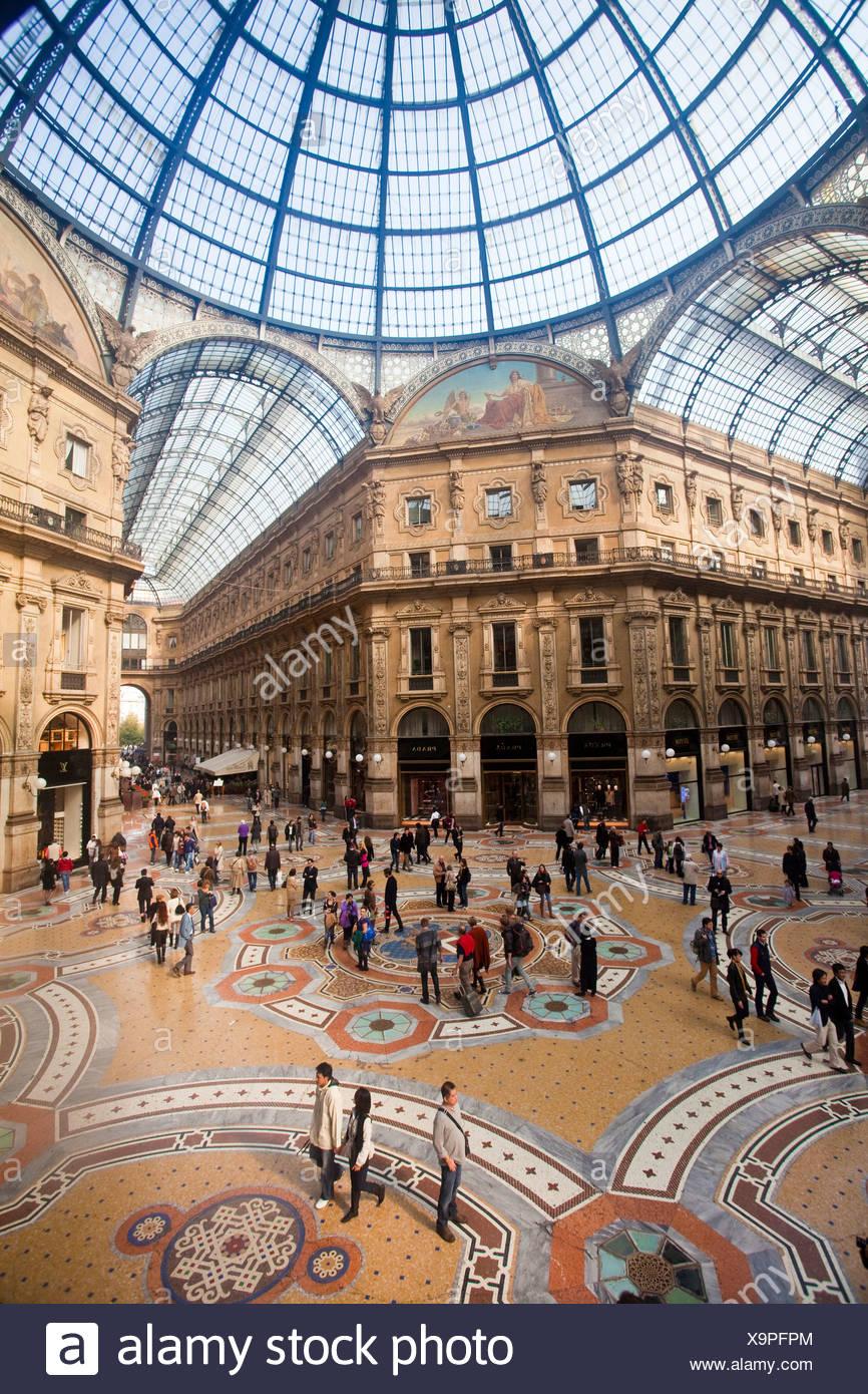 Italy, Europe, Milano, Milan, Vittorio Emanuele Galleria, mosaic, dome, shopping - Stock Image