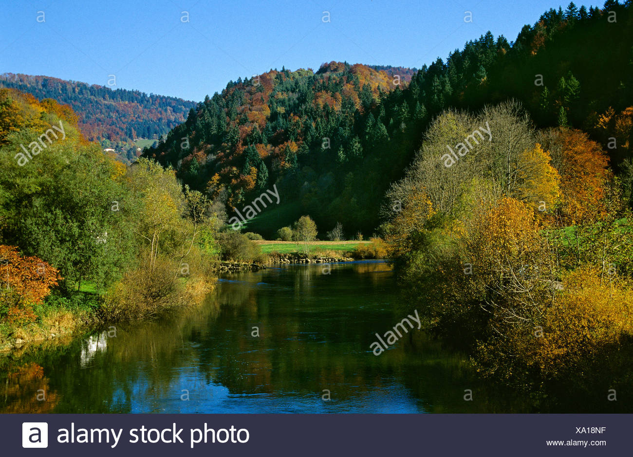 Doubs river river valley autumn scenery landscape valley Canton Jura Switzerland Europe - Stock Image