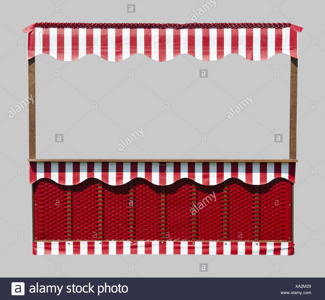 Stall With Basketwork Und Striped Sunblind