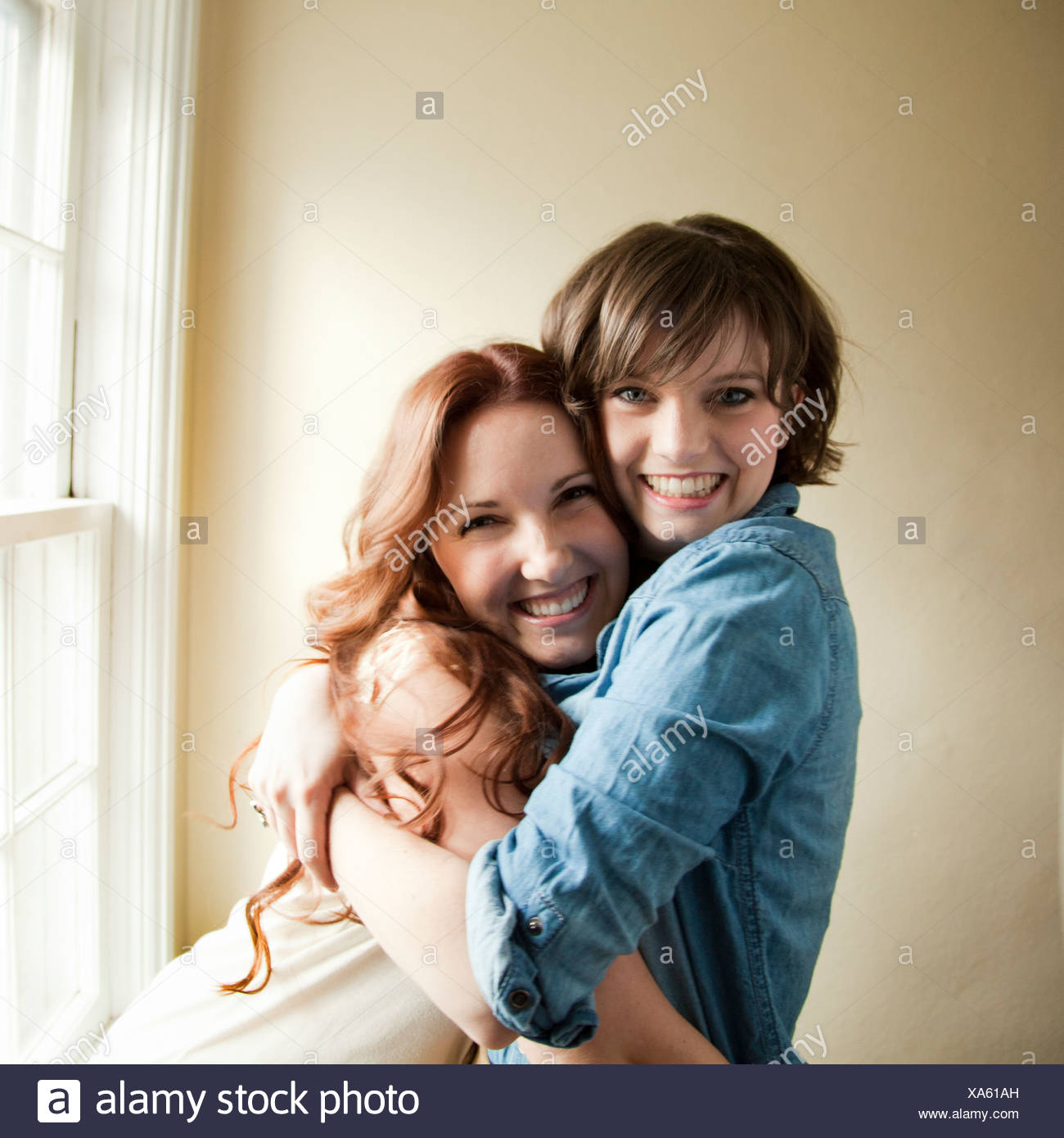Portrait of two young women - Stock Image