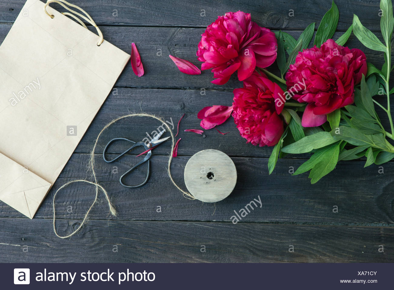 Paper bag flowers string and scissors on table stock photo paper bag flowers string and scissors on table mightylinksfo
