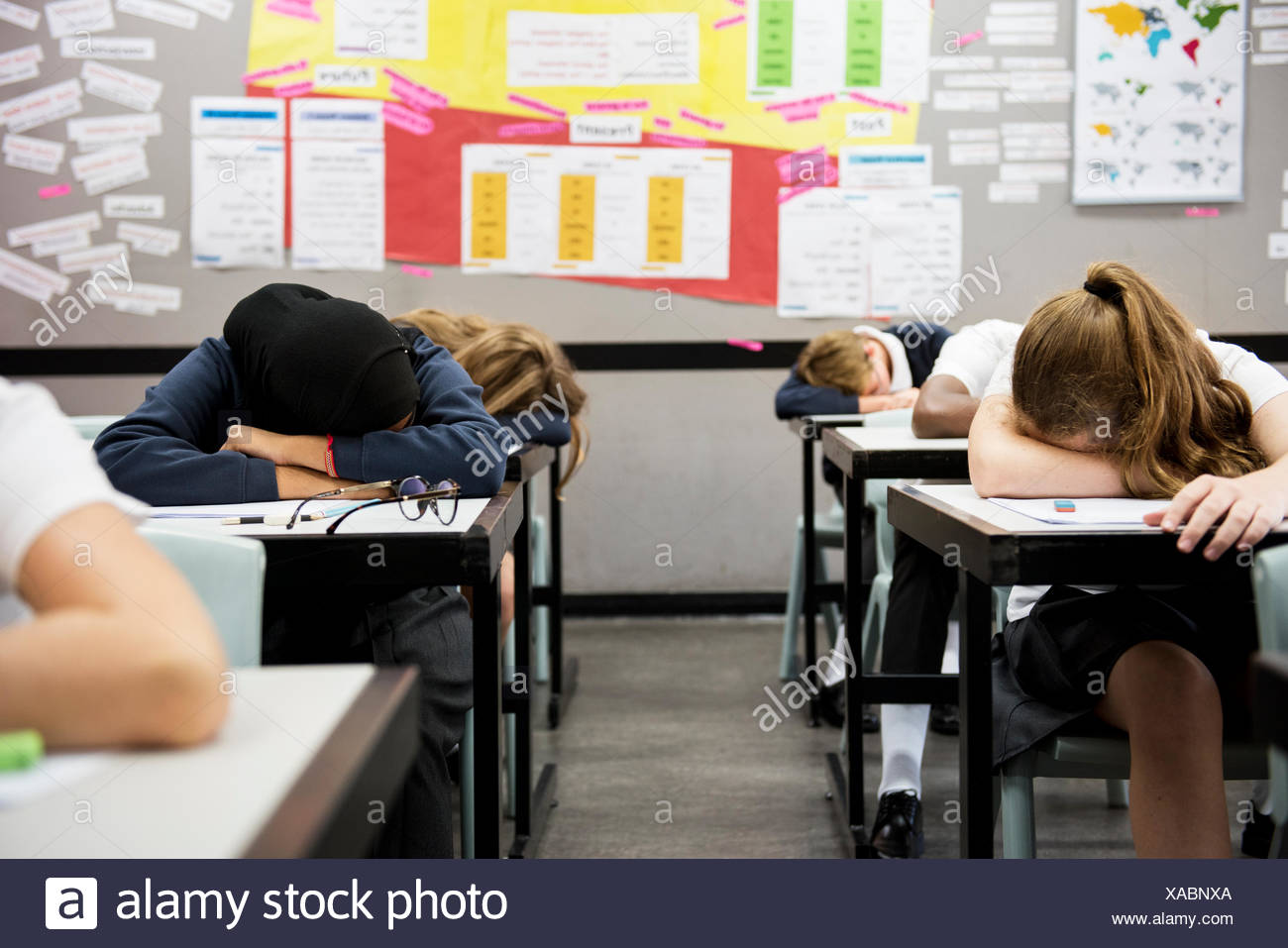 group of students sleeping in the classroom stock photo 281771122