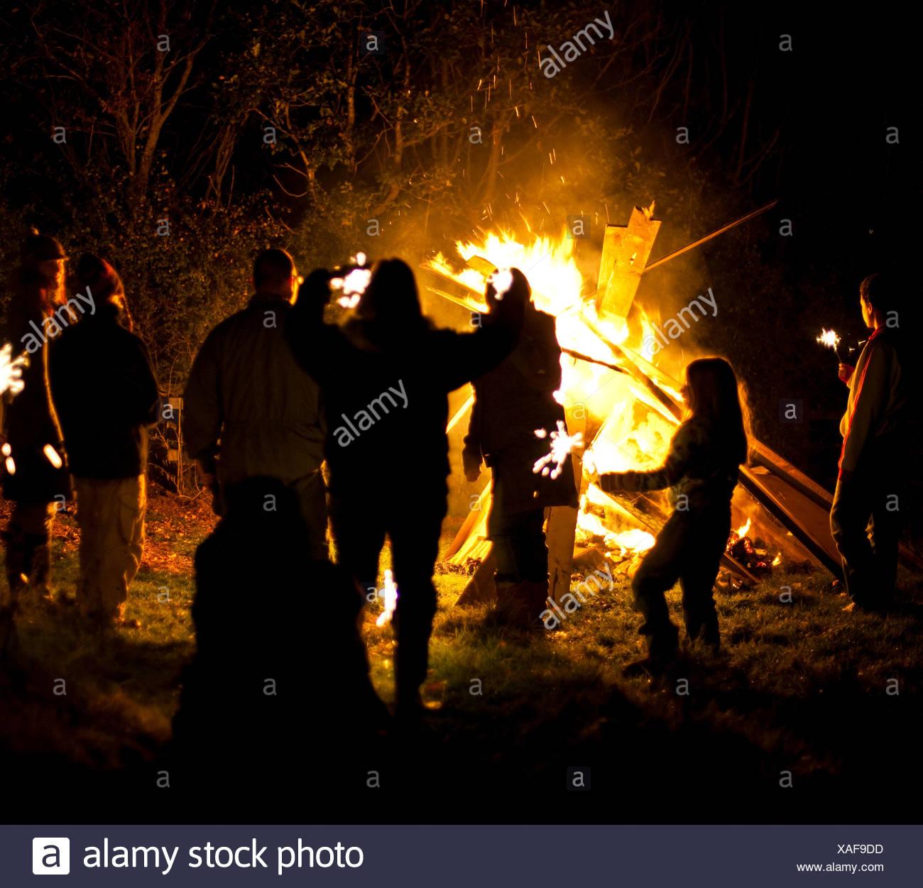 People on bonfire night - Stock Image