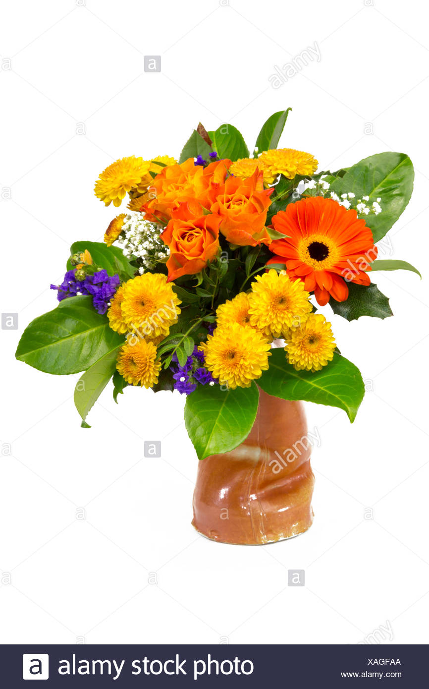 Flower Bouquet Yellow Orange In A Vase Stock Photo 281875730 Alamy
