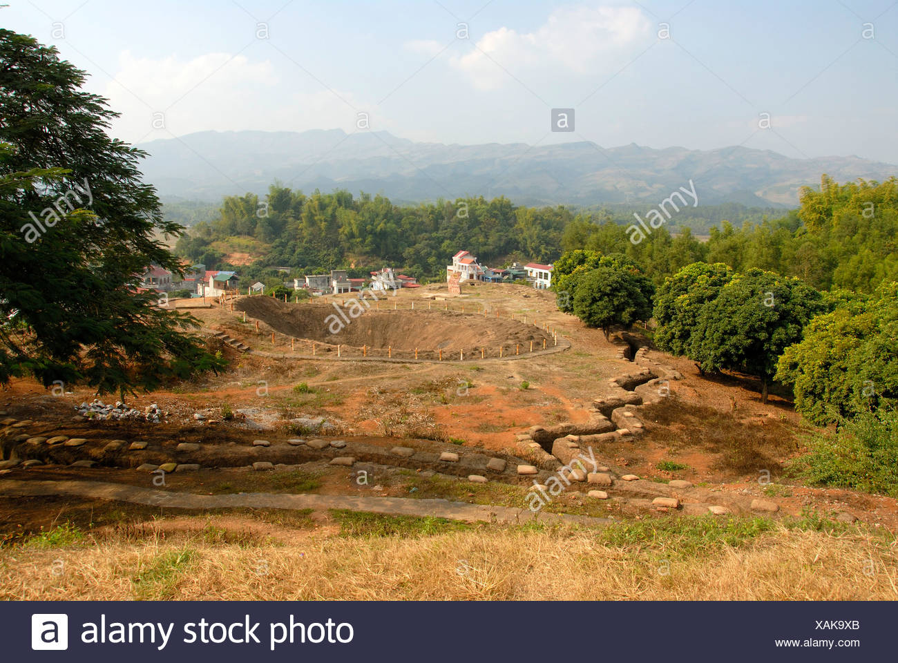 First Indochina war 1954, battlefield with trenches and a large bomb crater on the Mt A1, Dien Bien Phu, Vietnam, Southeast Asia - Stock Image