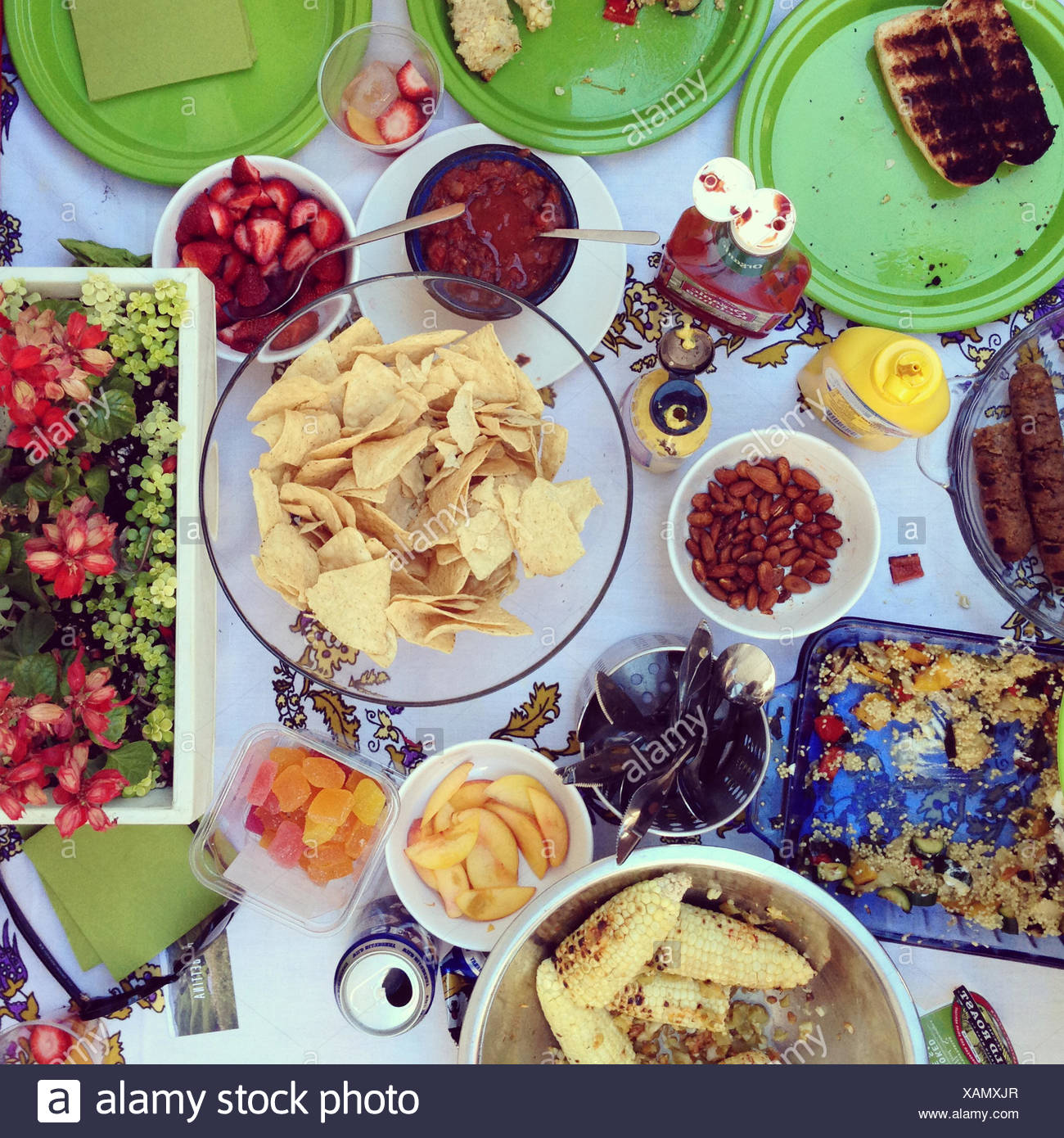 Table with barbecue food - Stock Image