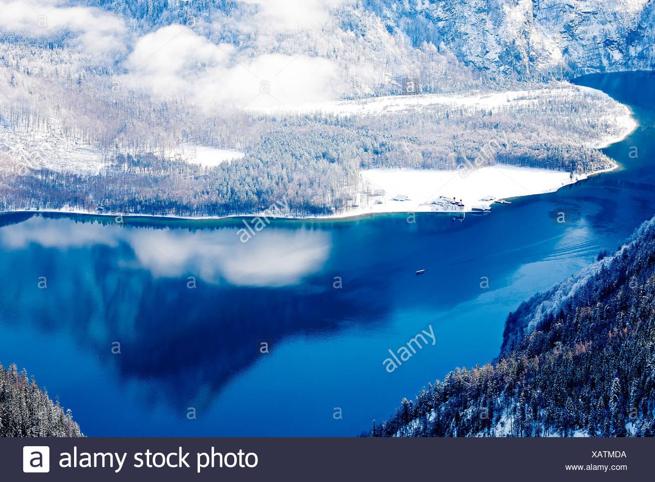 Lake Koenigssee in winter, Alps, Bavaria, Germany, Europe - Stock Image