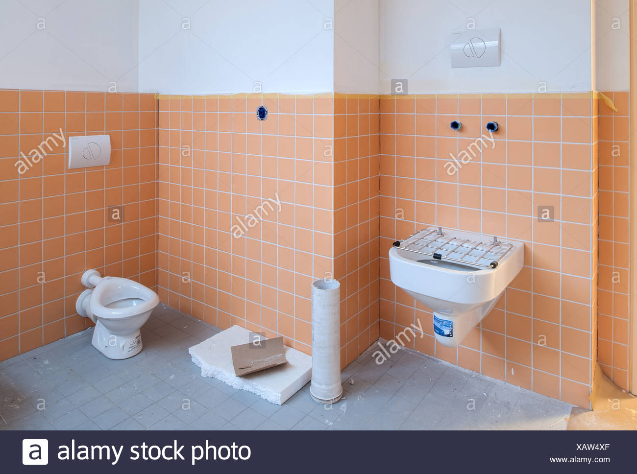 Berlin, Germany, Expanding A Sanitaerbereichs In A Daycare Center   Stock  Image