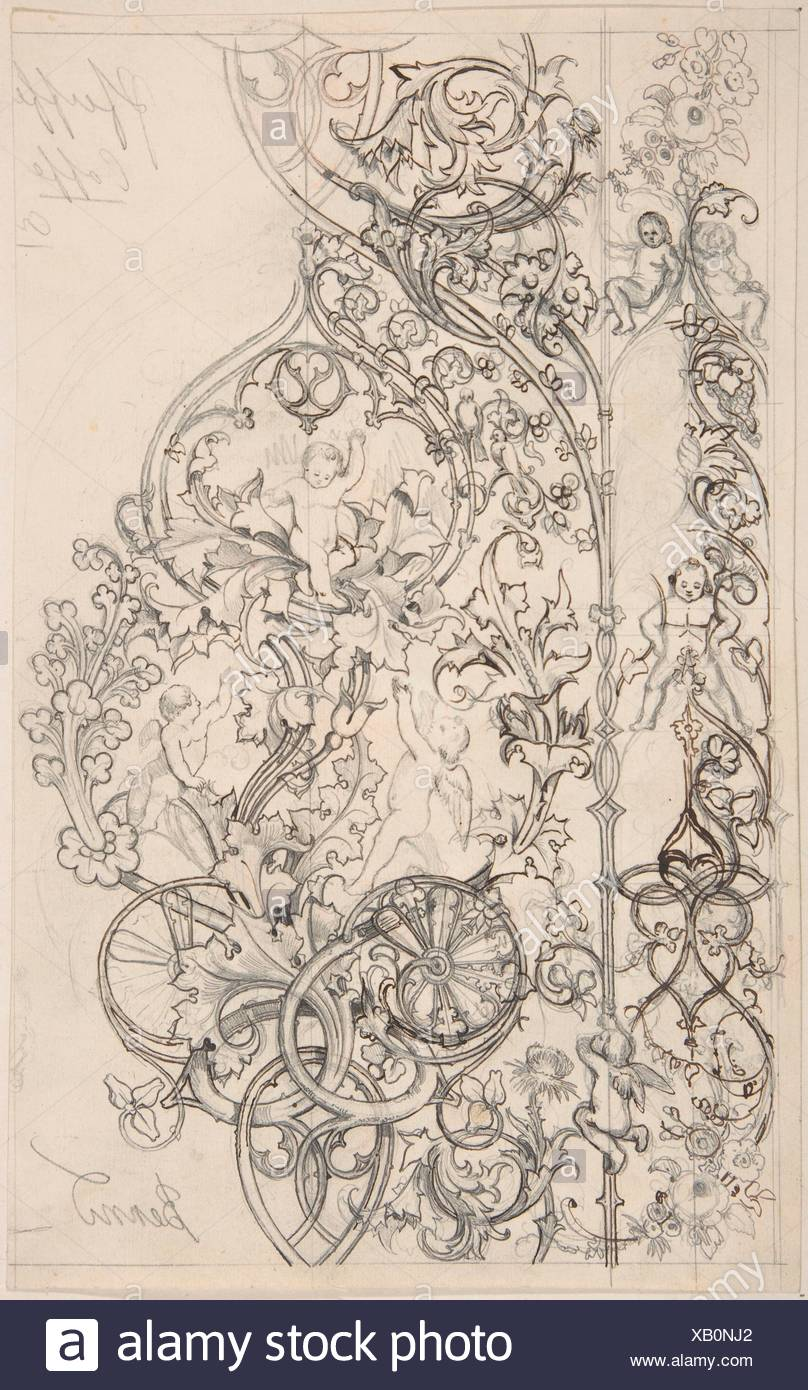 Gothic Ornament with Putti and Acanthus Leaves. Artist: Attributed to Bernd (German (?)) ?; Date: 19th century; Medium: Pen and black and brown ink, - Stock Image