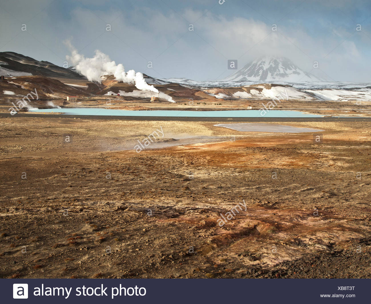 Steam, Vapor, earth warmth, Iceland, Europe, power station, Myvatn, Reykjahild, Therme, warmth, winter, geothermal, - Stock Image