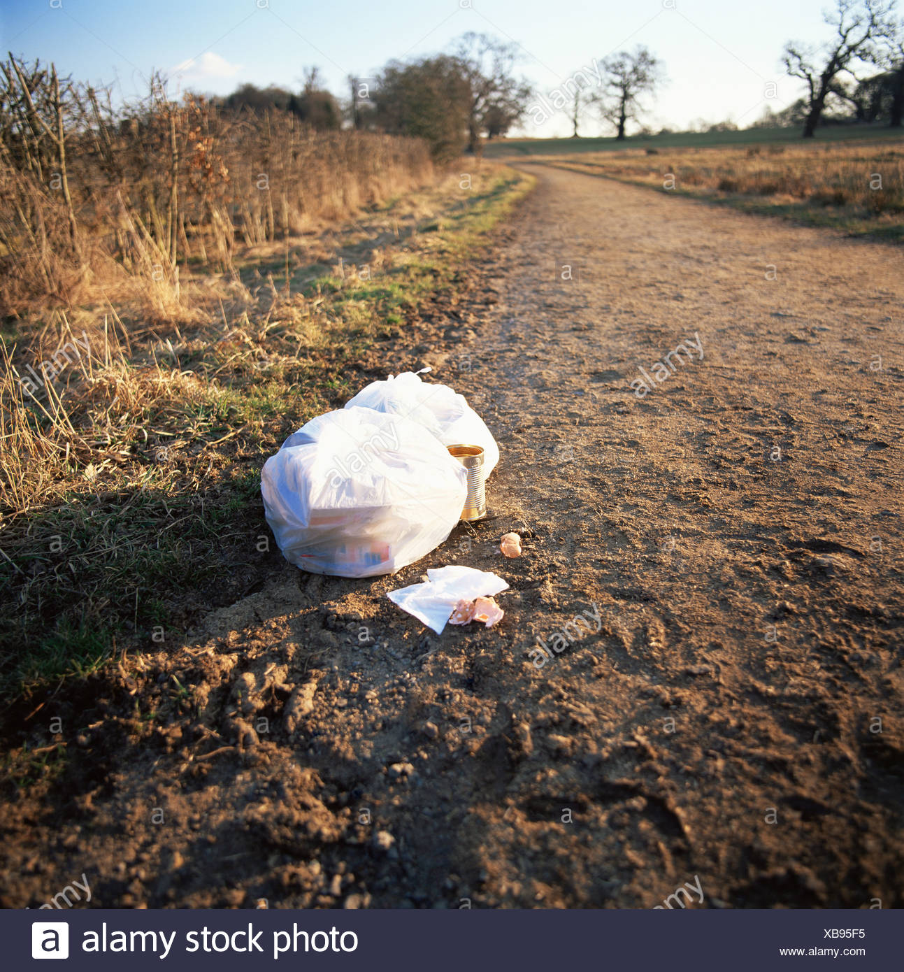Rubbish left by a path - Stock Image