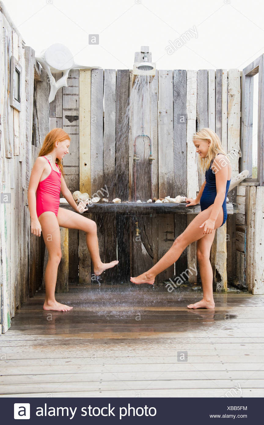 girls together Two showering