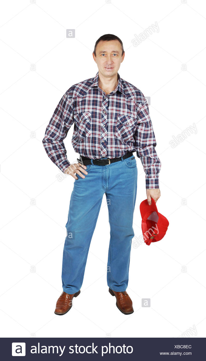 a3e698fb07 Man wearing jeans and a plaid shirt with red cap Stock Photo ...