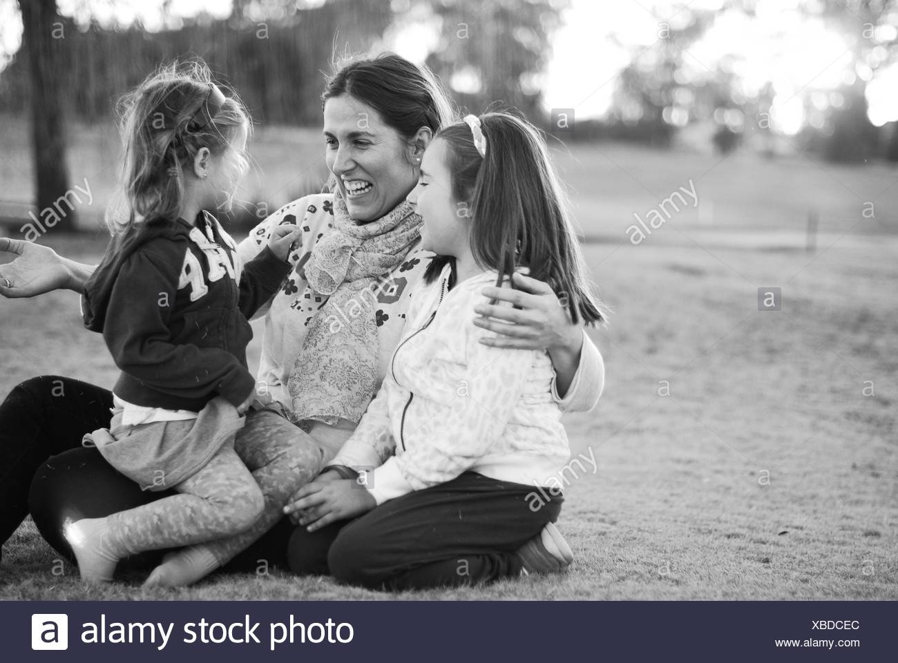 Argentina, Buenos Aires, Mother with two daughters - Stock Image