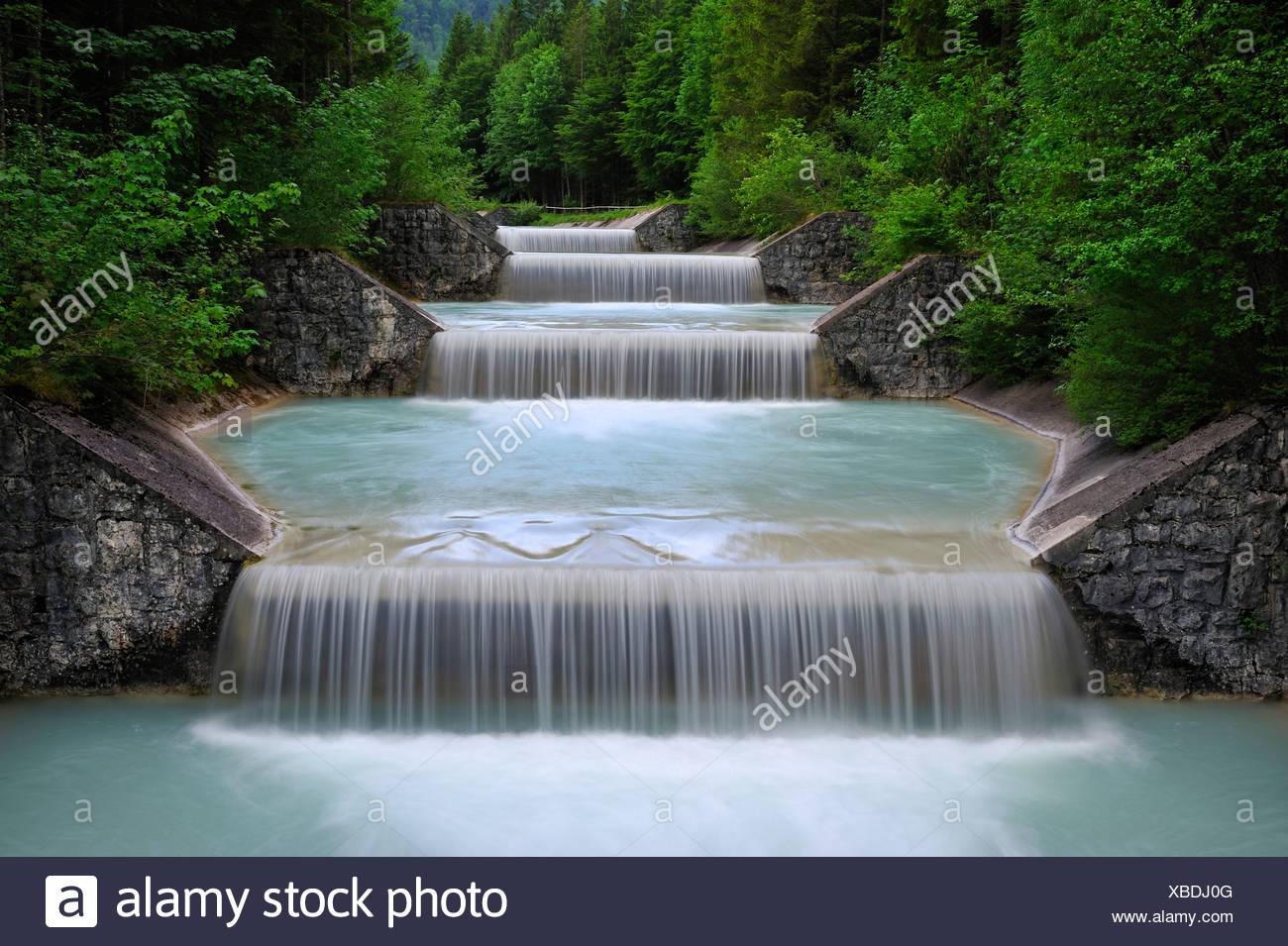 Water overflow of the Niedernach power plant on the Walchensee lake, Jachenau municipality, county Bad Toelz-Wolfratshausen, Ba - Stock Image