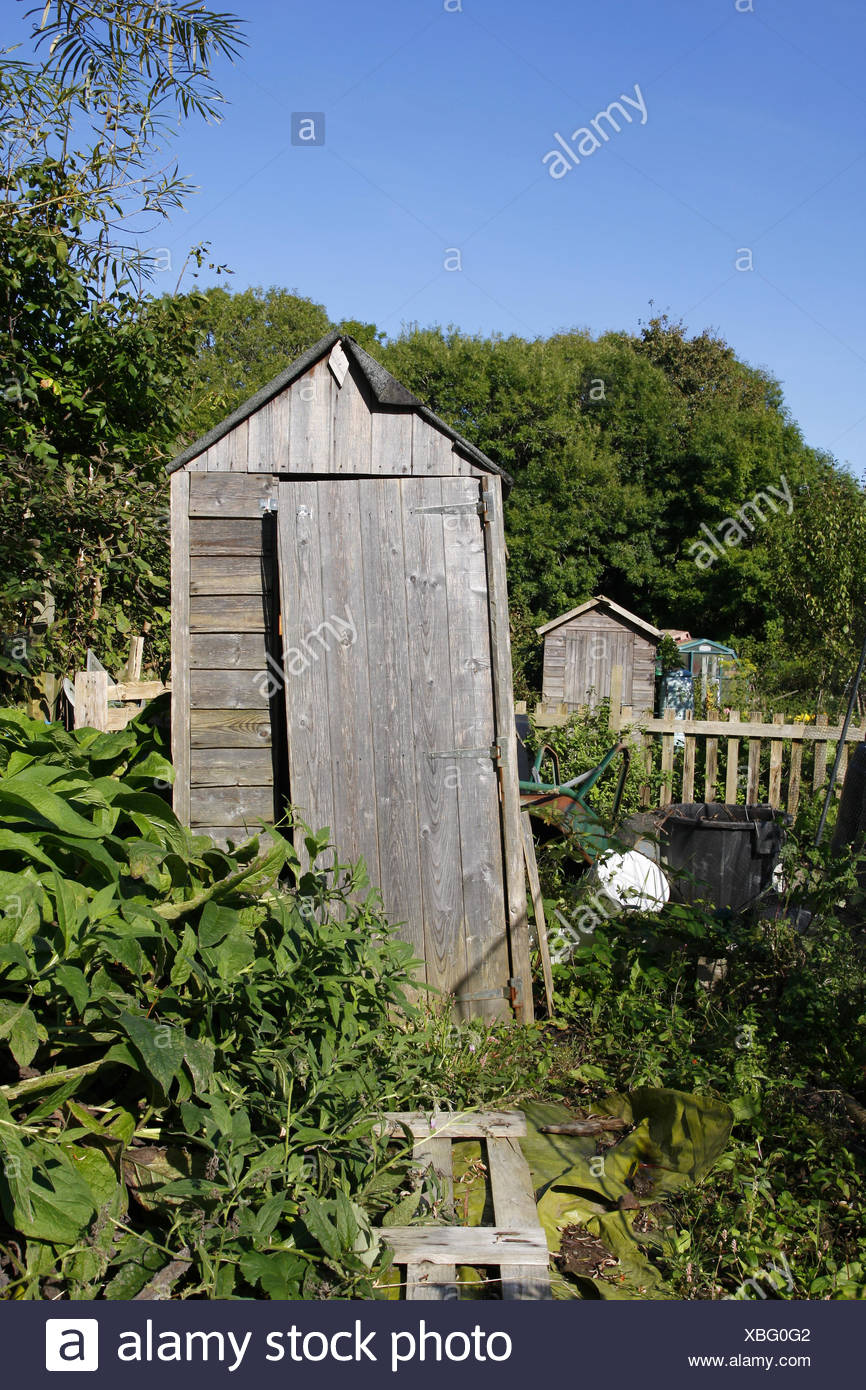 old leaning shed in an allotment stock photo 282478786 alamy
