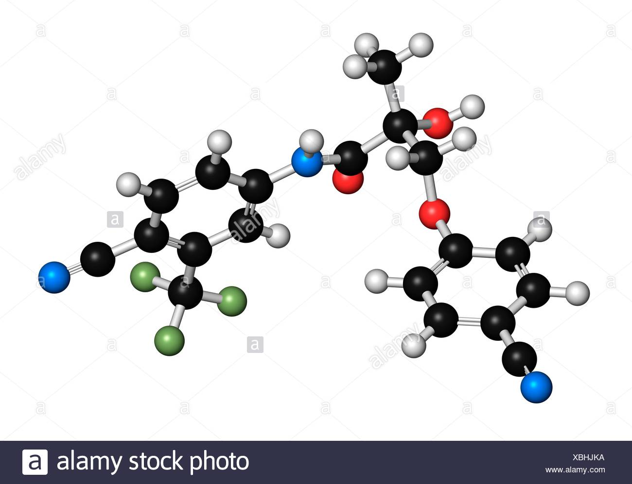 Enobosarm drug molecule. Selective androgen receptor modulator (SARM) that is also used in sports doping. 3D rendering. Atoms are represented as spheres with conventional colour coding: hydrogen (white), carbon (black), nitrogen (blue), oxygen (red), fluo - Stock Image