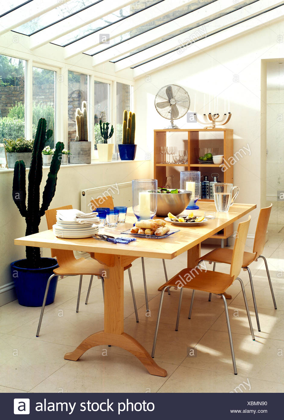 Incroyable Pale Wood Furniture And Cacti In Conservatory Used As Diningroom