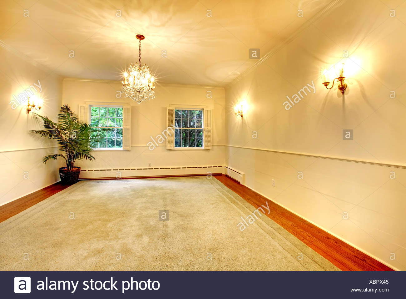 Empty luury antique large dining room interior with white walls ...