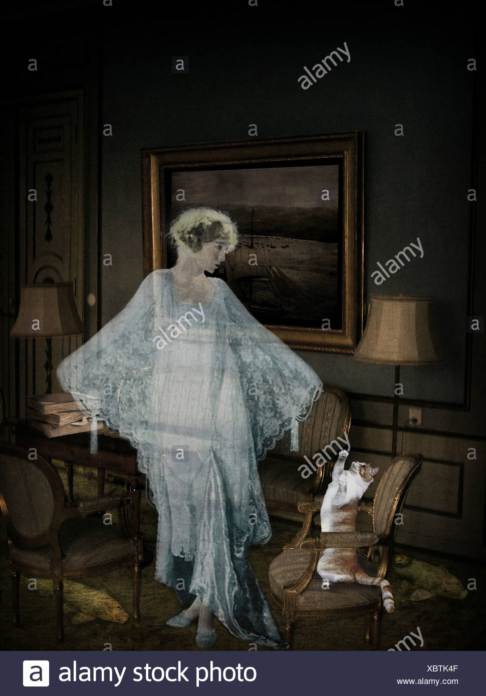 After the tragedy at the koi pond, Lady Dorothy's ghost took up residence in the drawing room. - Stock Image