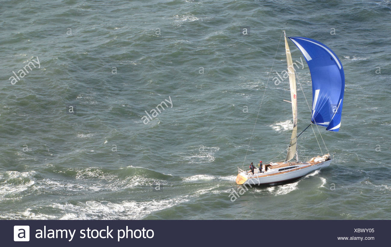 Sailboat sailing in the bay of San Francisco, USA, California, San Francisco - Stock Image