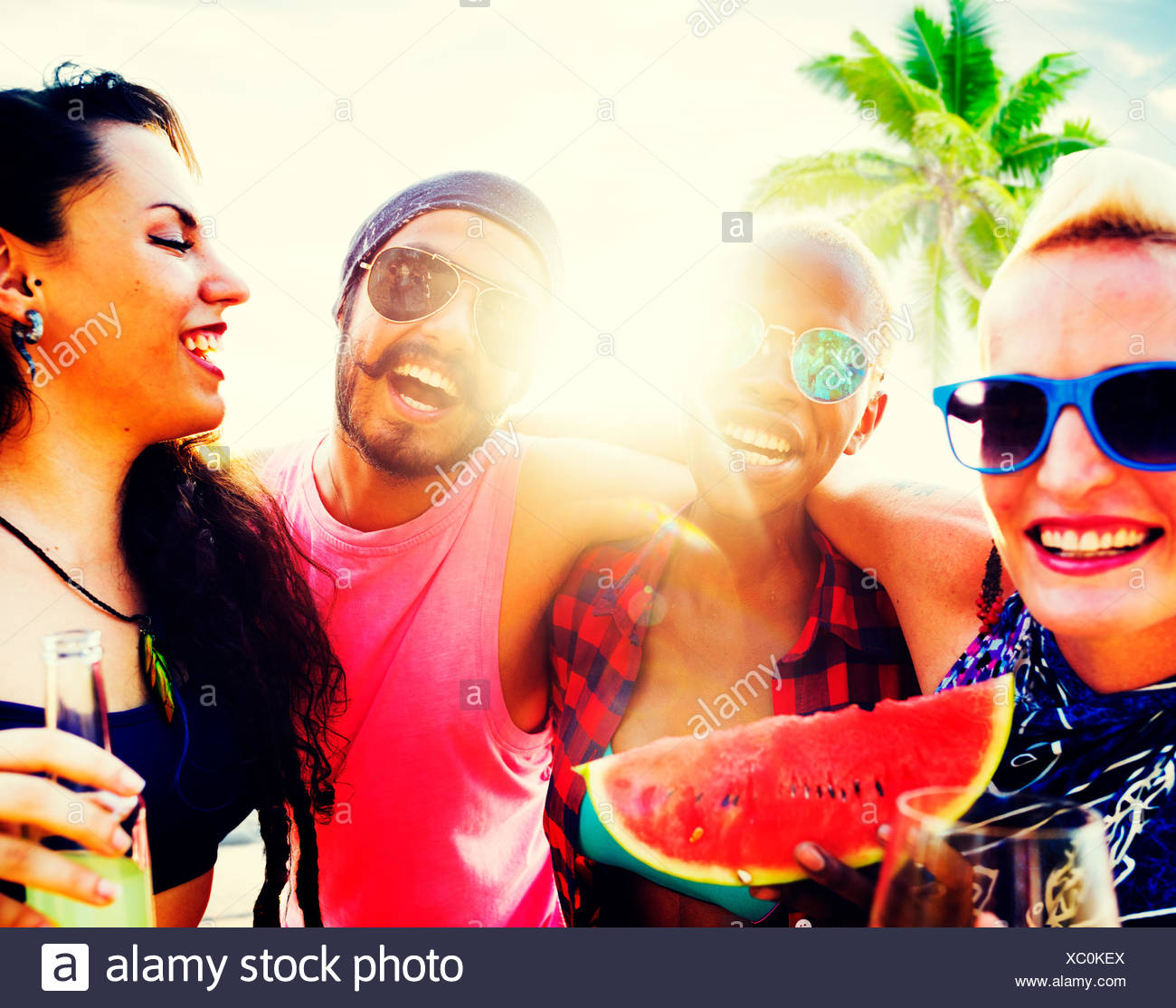 Friends Beach Vacation Relaxing Chilling Concept - Stock Image