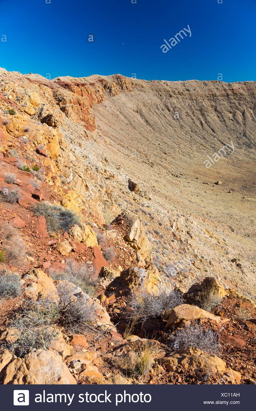 Meteor Crater is a meteorite impact crater. The site was formerly known as the Canyon Diablo Crater, Arizona, USA - Stock Image