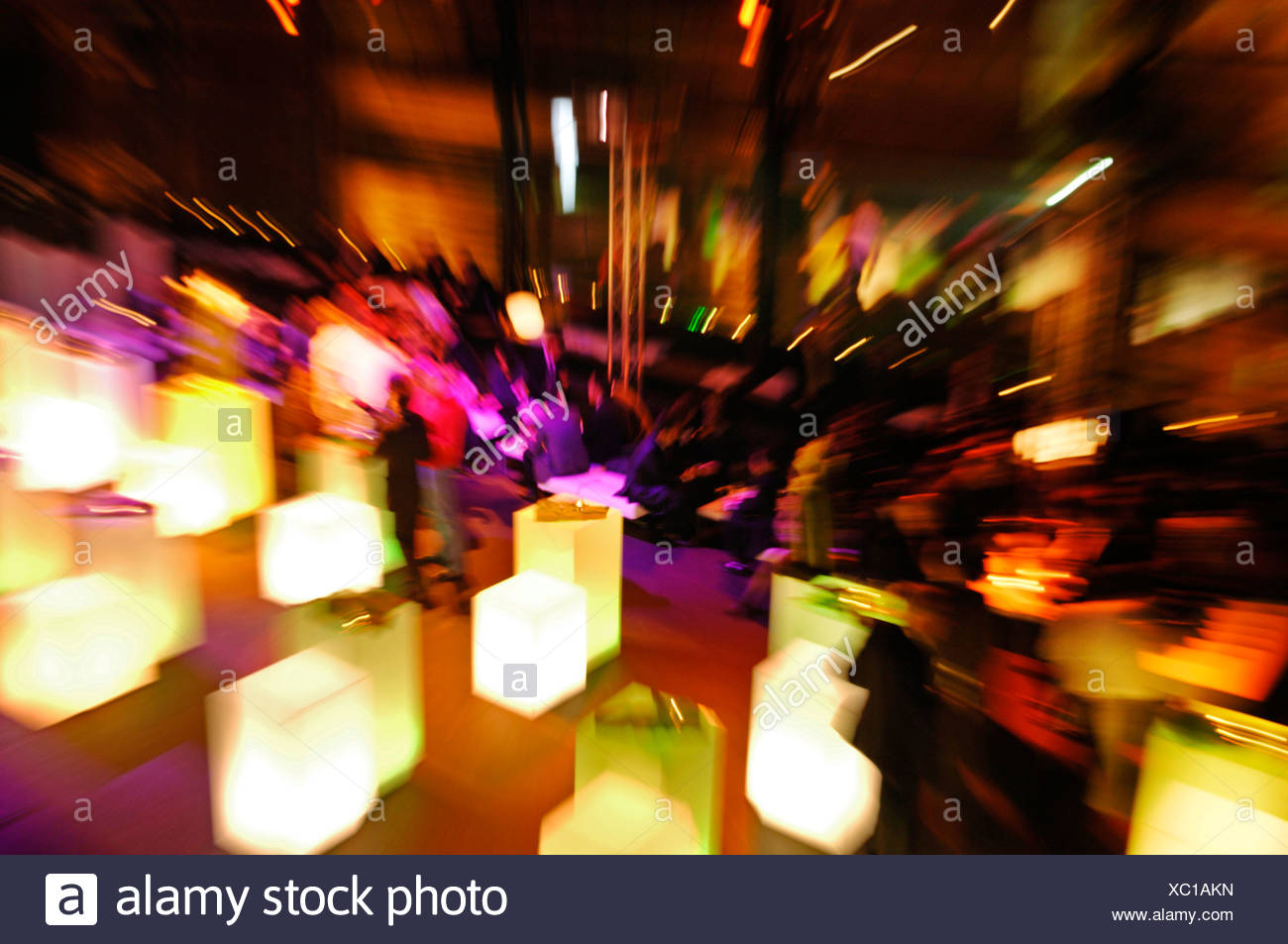 Evening event, people, zoom effect - Stock Image