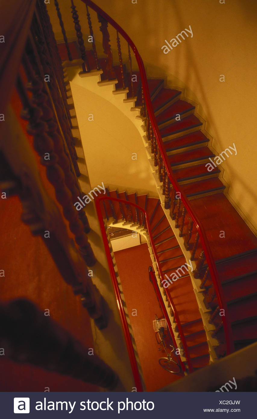 Stairwell, From Above, House, Residential House, Inside, Stairs, Steps,  Railings, Banisters, Bicycle, Put Down, Deserted,