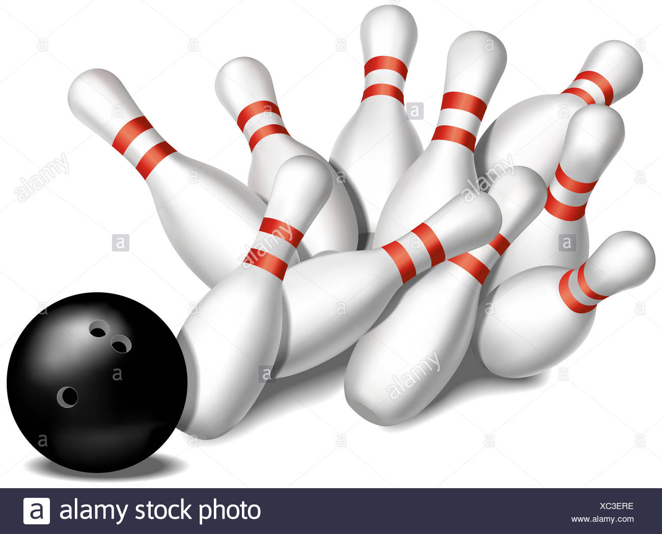 Bowling Pins Being Knocked Down By A Bowling Ball Stock Photo