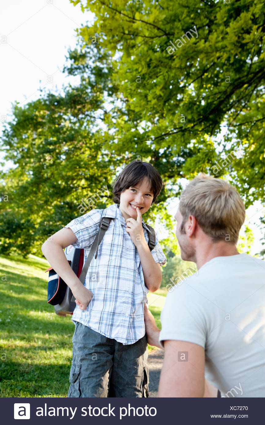 Father And Schoolboy - Stock Image