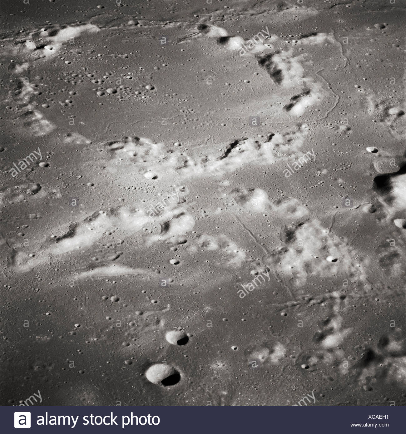 Apollo 16 - Ancient Moon Craters - Stock Image