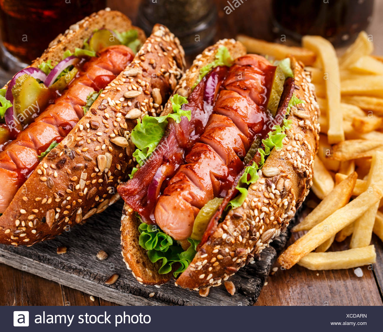 Barbecue grilled hot dog with french fries - Stock Image