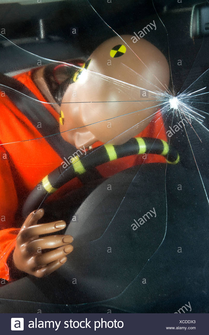 A windshield cracked by the impact of a crash test dummy's head - Stock Image