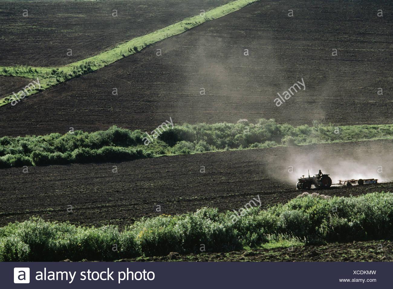 Kenya Tractors tilling soil farm recently cleared Kenya - Stock Image
