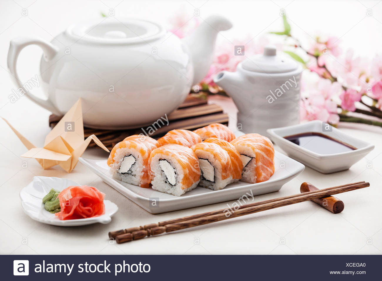 cheese classic with soy sauce and ginger - Stock Image